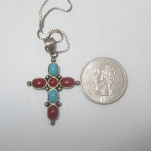 Jewelry - Sterling Cross Pendant with Long Sterling Chain